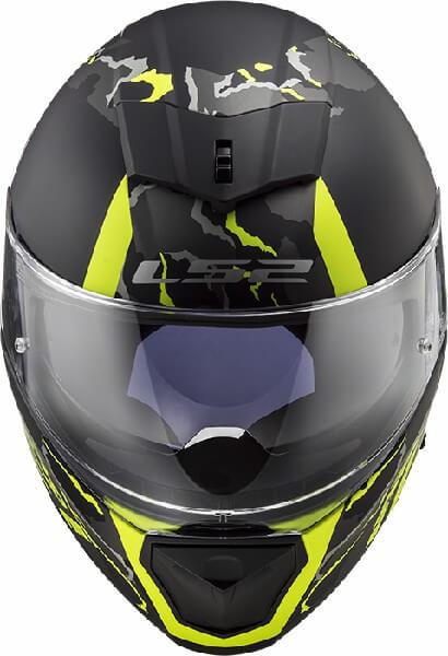 LS2 FF390 Breaker Feline Matt Black Fluorescent Yellow Full Face Helmet 2