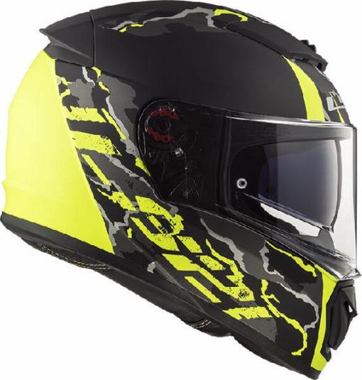 LS2 FF390 Breaker Feline Matt Black Fluorescent Yellow Full Face Helmet 3