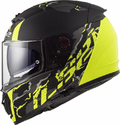 LS2 FF390 Breaker Feline Matt Black Fluorescent Yellow Full Face Helmet