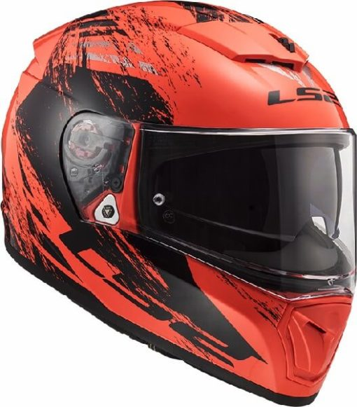 LS2 FF390 Breaker Swat Matt Fluorescent Orange Black Full Face Helmet 3