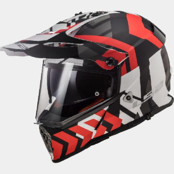 LS2 MX436 Pioneer Extreme Matt Black Red Dual Sport Helmet
