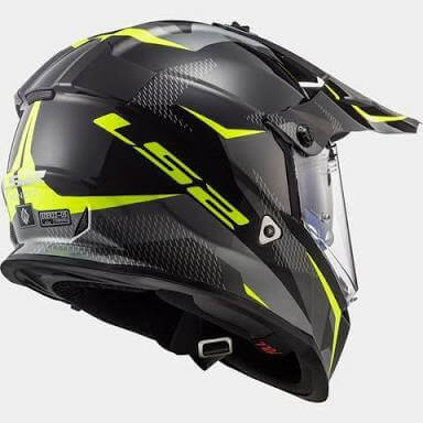 LS2 MX436 Pioneer Ring Matt Black Titanium Hi Viz Yellow Dual Sport Helmet 1