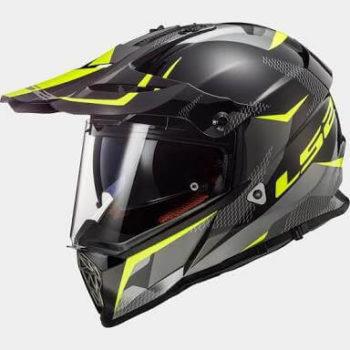 LS2 MX436 Pioneer Ring Matt Black Titanium Hi Viz Yellow Dual Sport Helmet