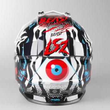 LS2 MX437 Beast Matt Black White Motocross Helmet 1