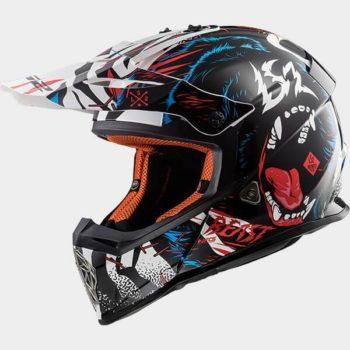 LS2 MX437 Beast Matt Black White Motocross Helmet