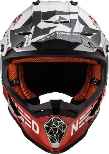 LS2 MX437 Fast Block Matt White Red Motocross Helmet 2