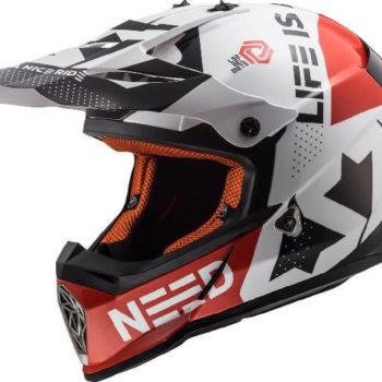 LS2 MX437 Fast Block Matt White Red Motocross Helmet