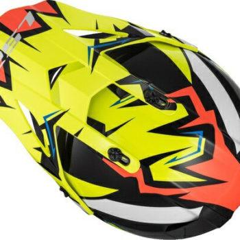 LS2 MX437 Fast Volt Matt Hi Viz Black Orange Motocross Helmet 1
