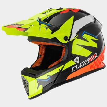 LS2 MX437 Fast Volt Matt Hi Viz Black Orange Motocross Helmet