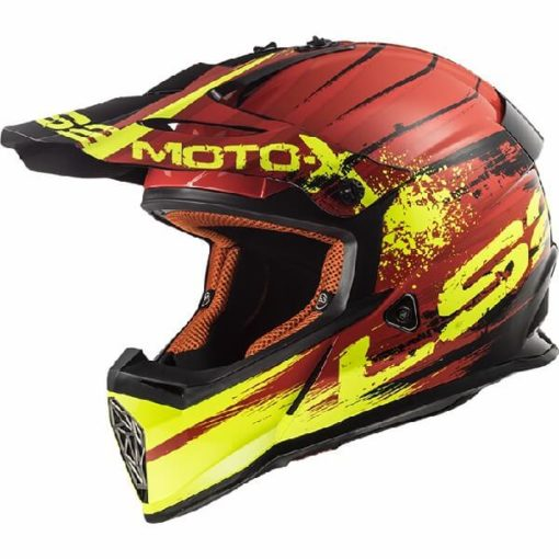 LS2 MX437 Gator Matt Red Motocross Helmet