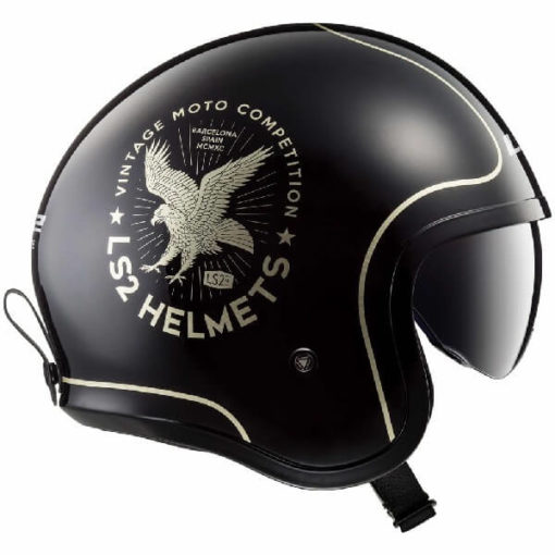 LS2 OF599 Spitfire Flier Matt Black Gold Open Face Helmet 1