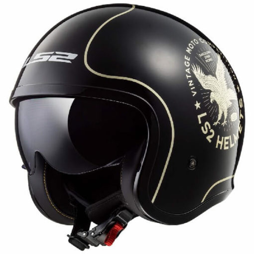 LS2 OF599 Spitfire Flier Matt Black Gold Open Face Helmet