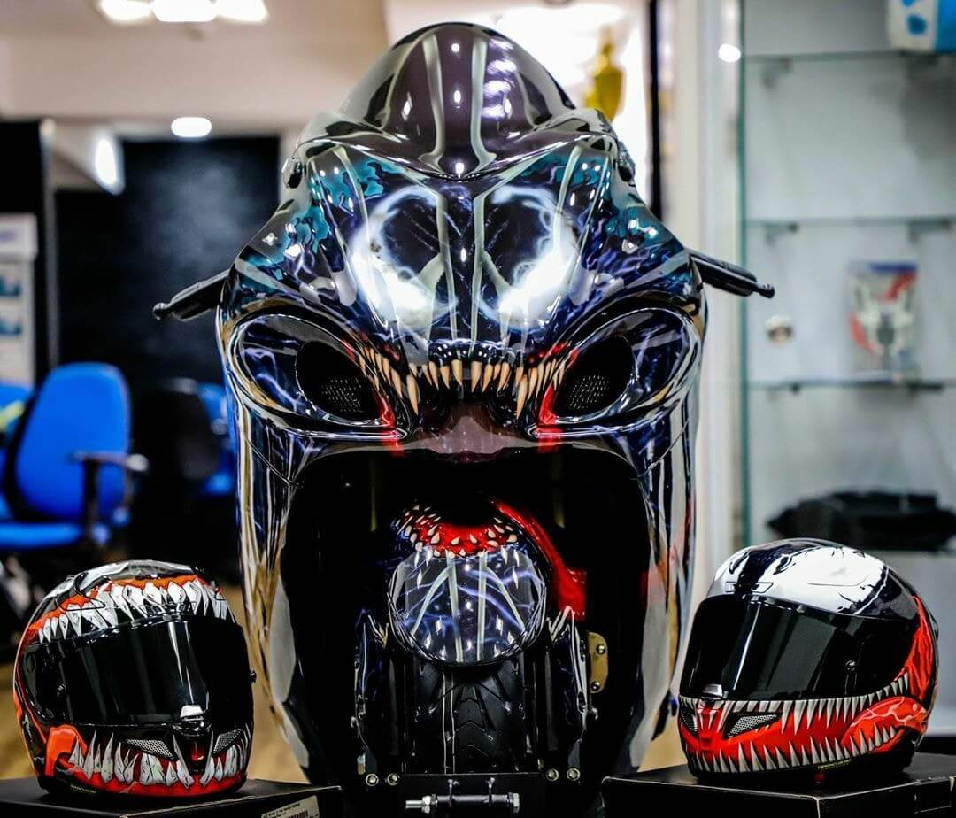 Venom Hayabusa Motorcycle Painted by Custom Elements