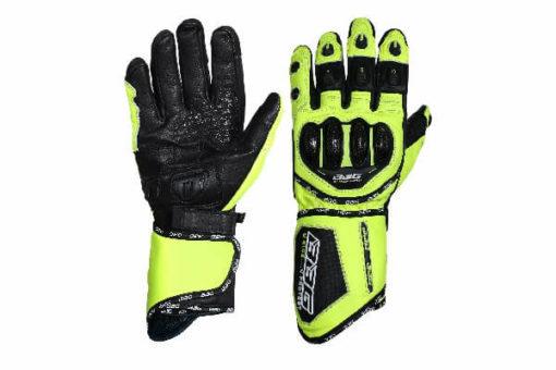 BBG Racer Full Gauntlet Black Fluorescent Yellow Riding Gloves