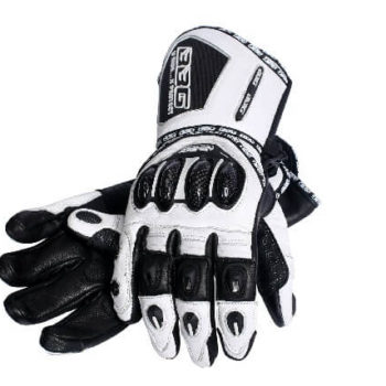BBG Racer Full Gauntlet White Black Riding Gloves