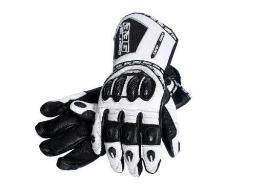 BBG Racer Full Gauntlet White Black Riding Gloves