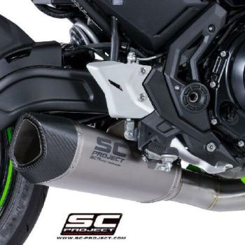 SC Project 2 in 1 Carbon Fiber End Cap Full System Exhaust for Ninja 650 1