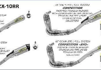Arrow Pro Race Slip On Half System Exhaust for ZX 10RR
