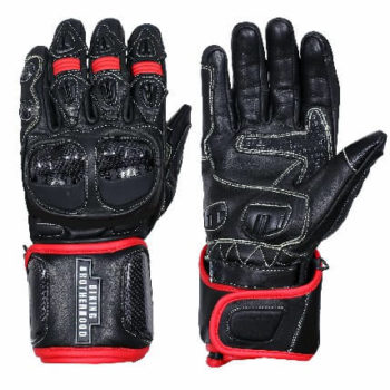 BBG Black Full Gauntlet Leather Riding Gloves