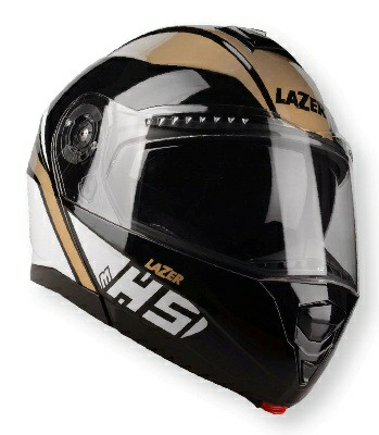 Lazer MH5 Light Gloss Black White Gold Flip Up Helmet
