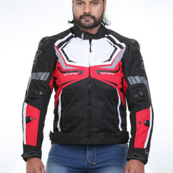 Zeus Viper Razor Black White Red Riding Jacket 2
