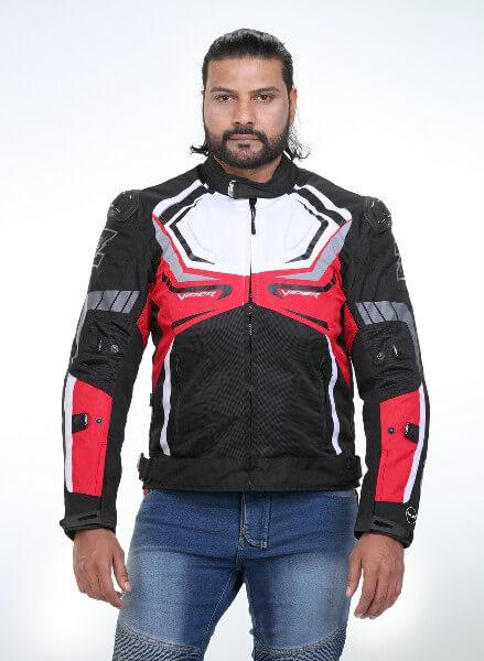 Zeus Viper Razor Black White Red Riding Jacket 2