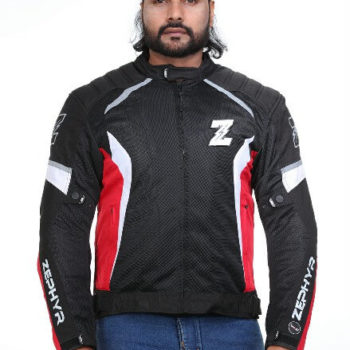Zeus Zephyr Smart Black White Red Riding Jacket 2