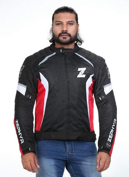 Zeus Zephyr Smart Black White Red Riding Jacket 2