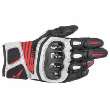 Alpinestars SP X Air Carbon V2 Black White Fluorescent Red Riding Gloves