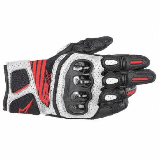 Alpinestars SP X Air Carbon V2 Black White Fluorescent Red Riding Gloves