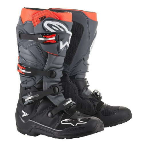 Alpinestars Tech 7 Enduro Black Grey Fluorescent Red Riding Boots