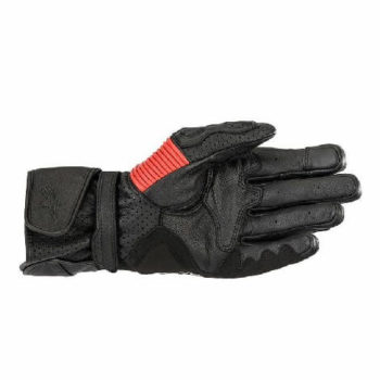 Alpinestars Twin Ring Leather Black Red Riding Gloves 1