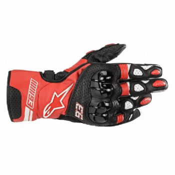 Alpinestars Twin Ring Leather Black Red White Riding Gloves