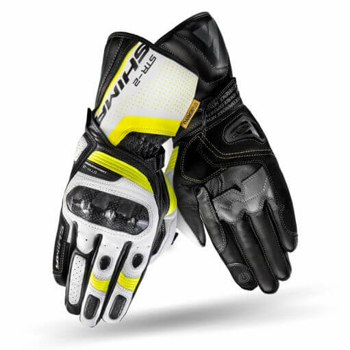Shima STR 2 Black White Fluorescent Yellow Riding Gloves