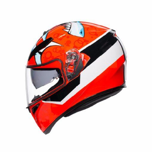 AGV K 3 SV Attack Gloss Red White Black Full Face Helmet 2