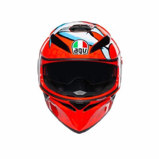 AGV K 3 SV Attack Gloss Red White Black Full Face Helmet 4 1
