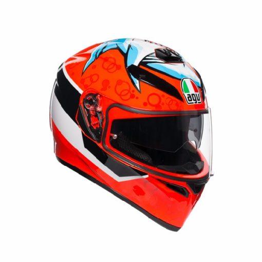 AGV K 3 SV Attack Gloss Red White Black Full Face Helmet