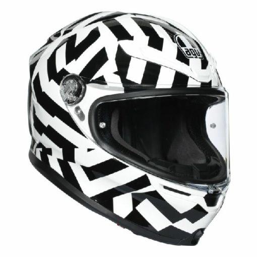 AGV K 6 Secret Gloss Black White Full Face Helmet