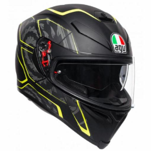 AGV K5 S Multi Plk Tornado Matt Black Fluorescent Yellow Full Face Helmet
