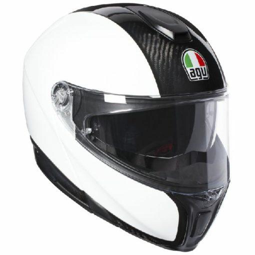AGV Sportsmodular Gloss White Black Carbon Modular Helmet