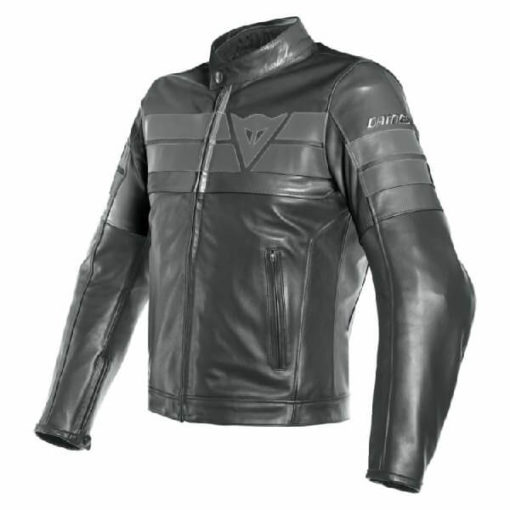 Dainese 8 Track Perforated Black Leather Riding Jacket