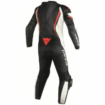 Dainese Assen 1 PC Perforated Black White Fluorescent Red Leather Riding Suit 1