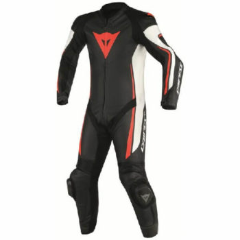 Dainese Assen 1 PC Perforated Black White Fluorescent Red Leather Suit
