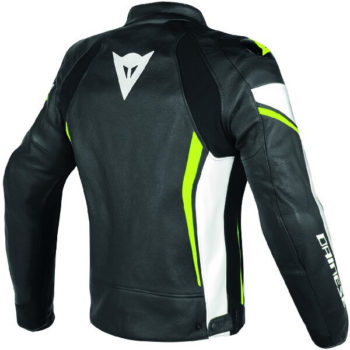 Dainese Assen Perforated Black White Fluorescent Yellow Leather Jacket 1
