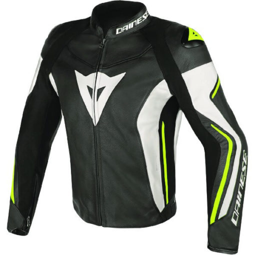 Dainese Assen Perforated Black White Fluorescent Yellow Leather Jacket