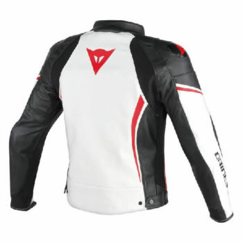 Dainese Assen Perforated White Black Lava Red Leather Jacket 1