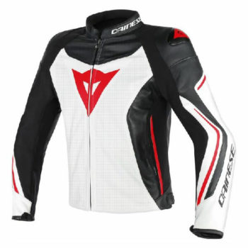 Dainese Assen Perforated White Black Lava Red Leather Jacket