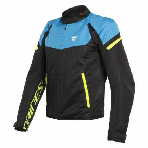 Dainese Bora Air Tex Black Blue Fluorescent Yellow Riding Jacket