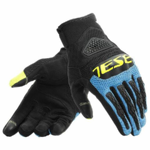 Dainese Bora Black Blue Fluorescent Yellow Riding Gloves