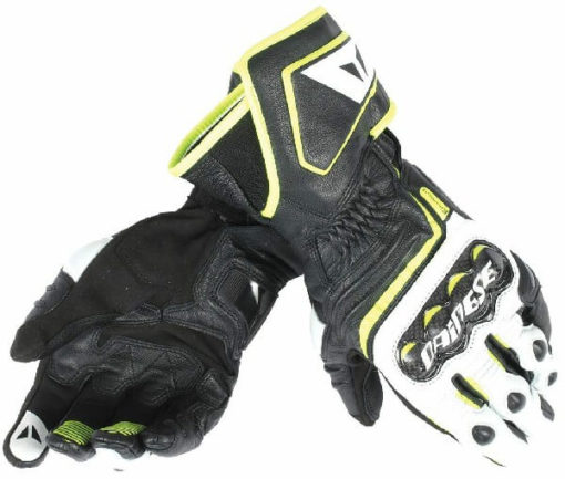 Dainese Carbon D1 Long Black White Fluorescent Yellow Riding Gloves